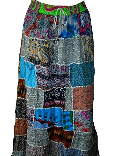 Falda Maxi hippie tribal de la falda del vientre del vientre Banjara NUEVO PATCHWORK P139