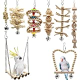 8 Packs Bird Parrot Swing Chewing Toys with Upgraded Bell, Creatiee Natural Wood Standing Hanging Hammock Bird Cage Toys for Small Parakeets, Cockatiels, Conures, Finches, Budgie, Macaws, Love Birds