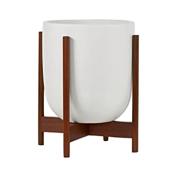 Modernica Ceramic Small Bullet Planter White Wood Stand Amazon