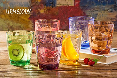Drinking Glasses Set Acrylic Glassware for Kids 11oz Colored Plastic Tumblers Cups Picnic Water Glasses Unbreakable Juice Drinkware for Camping Restaurant Beach Party BPA Free Dishwasher Safe by Urmelody (Image #3)