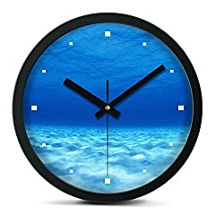 Time Roaming 10 Modern Decor Silent Metal Wall Clock, Seabed