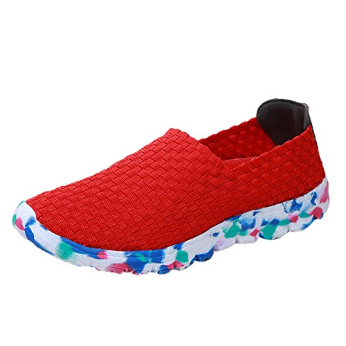 Respctful✿Women Walking Shoes Slip On Casual Mesh Walking Sneakers Lightweight Comfortable Breathable Knit Walking Shoes Red ()