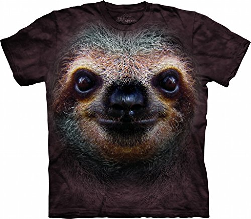 The Mountain 1035962 Sloth Face Adult Unisex Short Sleeve T-Shirt Large Brown
