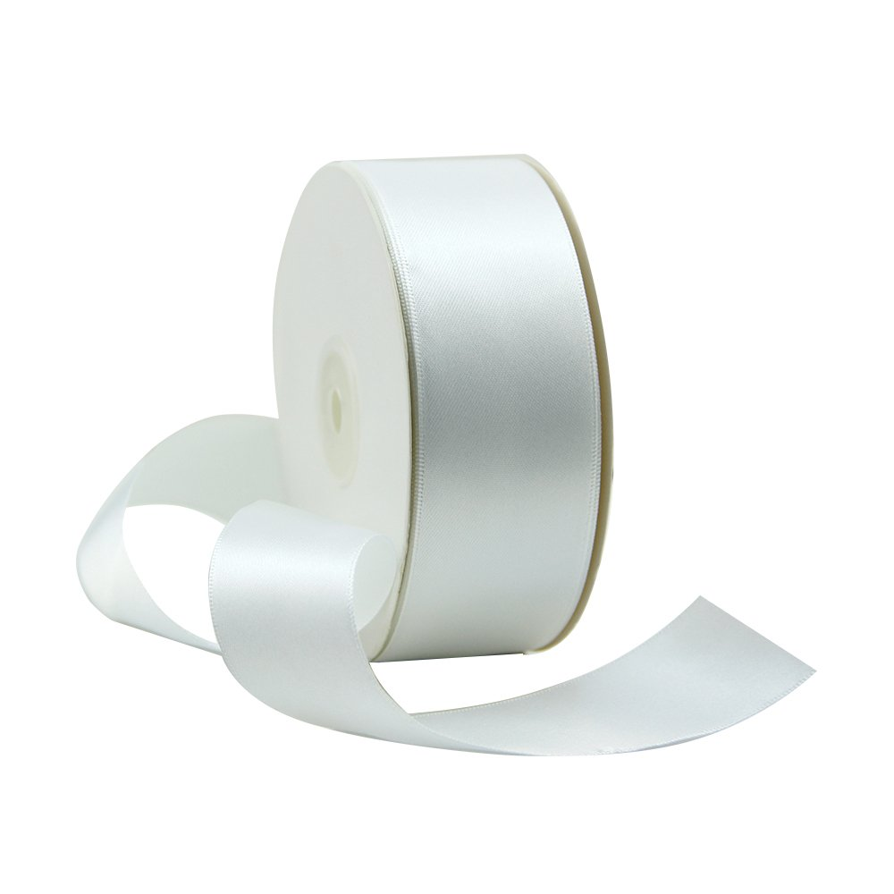 VATIN 1-1/2 inch Wide Double Face Solid Satin Ribbon Roll - 50-Yards ( White)