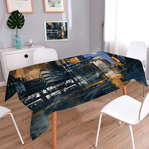 Dinner Cityscape - Anmaseven Futuristic Square Dinner Picnic Table Cloth Digital Paint Science Fiction Cityscape Architecture Cyberpunk Technology Waterproof Table Cover for Kitchen Black Orange Blue Size: W54 x L54