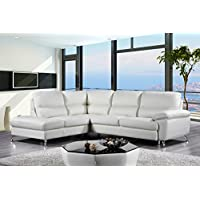 Cortesi Home Contemporary Miami Genuine Leather Sectional Sofa with Left Facing Chaise Lounge, Cream