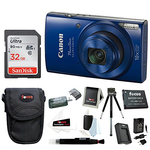 Canon PowerShot ELPH 190 IS 20 MP Digital Camera (Blue) + 32GB Bundle