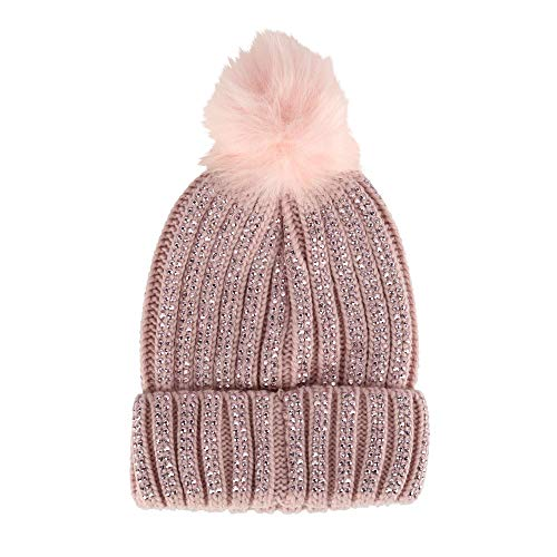 David & Young Women's Knit Beanie with Studs and Pom, Blush