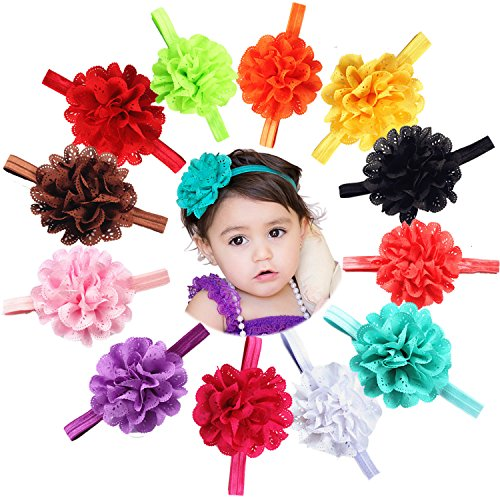 Toshibon Cute Lovely Baby Girls Infants Flower Headbands Hollowed-out Hair elastic Band Best baby Photography Props Accessories (10) (Baby Costume Australia)