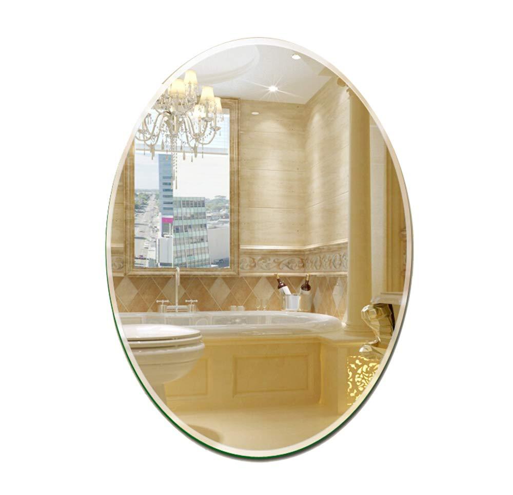 ミラー、浴室の鏡の壁、ベッドルームの斜めの鏡、ホテルフレームレス楕円形、HD、防爆 B07GX6L2H9 60*80CM - 60*80CM