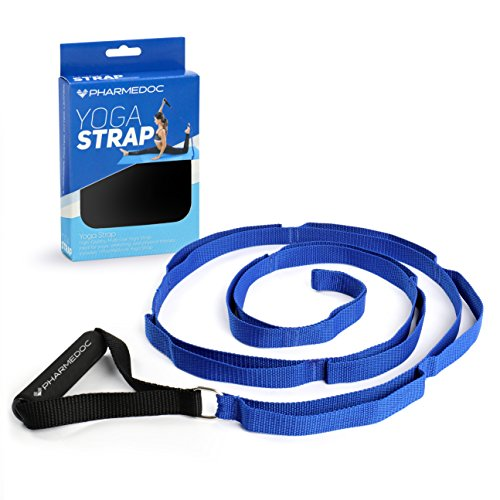 PharMeDoc Yoga Strap Stretch Band – Stretching Strap with Handle & Loops Hamstring Stretcher