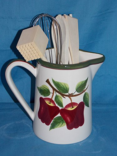NEW 3D CERAMIC 7PC SET RED DELICIOUS APPLES APPLE WATER PITCHER UTENSIL HOLDER