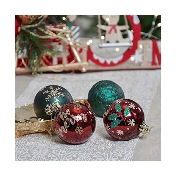 Valery Madelyn Palle di Natale 9 Pezzi 6 cm Palline di Natale, Strada di Campagna Rosso Verde e Oro Infrangibile Ornamenti Palla di Natale Decorazione per Albero di Natale Decor 7 spesavip