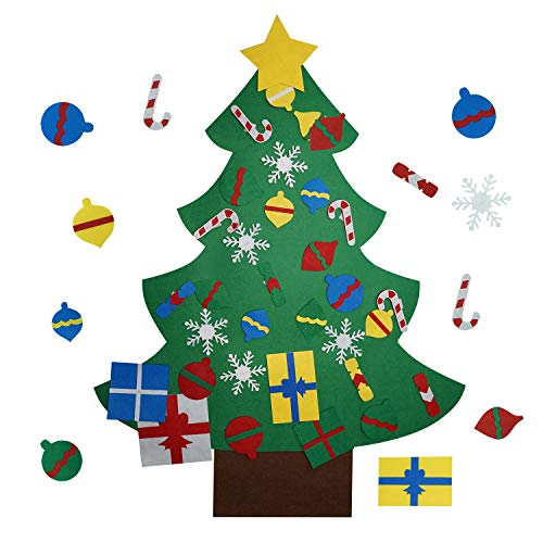 VOIMAKAS Felt Christmas Tree, 3.44FT DIY Christmas Tree with 30 PCS Detachable Ornaments for Kids Christmas New Year Door Wall Hanging Decorations