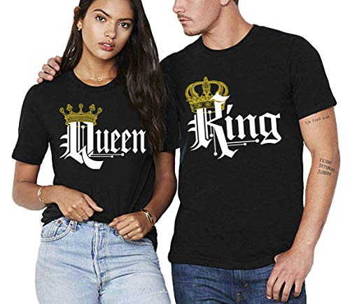 S&R KING AND QUEEN T-SHIRTS COUPLE MATCHING SHORT SLEEVE SHIRTS-Black-Large-(QUEEN ONLY) -