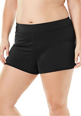 19b0e84b2c38f Woman Within Plus Size Wide-Band Swim Short with Built-in Brief - Black