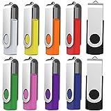 10 X 16GB USB2.0 Flash Drive in Bulk Thumb Drives Jump Drive Memory Drive Zip Drive with LED Light(10Pack,Multicoloured)