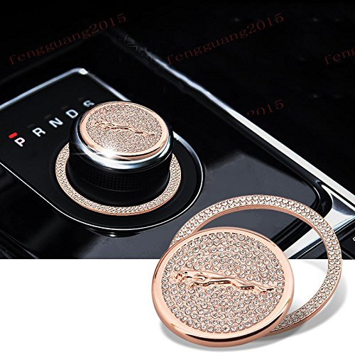 MAX WHOLESALE Genuine Crystal Gear Shift Knob Bling Badge Cover XF F-Pace Emblem For Jaguar (Rose Gold) by Bioplus