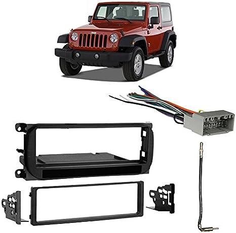 Compatible with Jeep Wrangler 2003-2006 Single DIN Stereo Harness Radio on jeep wrangler radio fuse, jeep wrangler trailer wiring harness, jeep wrangler radio antenna, jeep wrangler door harness, jeep wrangler fuse box diagram, jeep wrangler wiring diagram, jeep wrangler radio bracket, jeep wrangler radio relay, jeep wrangler antenna harness, jeep wrangler radio cover, jeep wrangler window regulator, jeep wrangler transmission cooler lines, jeep wrangler mpg,