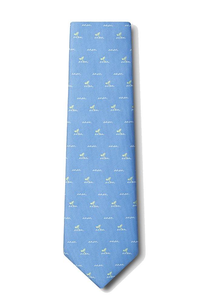 Men's Microfiber Nautical Whales Tails Ocean Whale Tie Necktie (Light Blue)