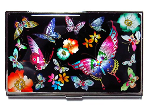 Business Card Case ID Holder Metal Minimalist Wallet Mother of Pearl Butterflies Design