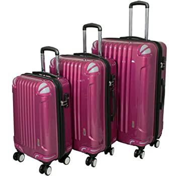 Image of Luggage AMKA 3-Piece TSA Locks Hardside Upright Spinner Luggage Set-Purple
