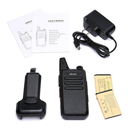 Walkie Talkies LT-316 Outdoor Camping Hiking Hunting Uhf Mini Walkie Talkies 3 Watts Output 5-10 Miles Range Micro USB Charging Amateur Two Way Radio (Pair) (Black)
