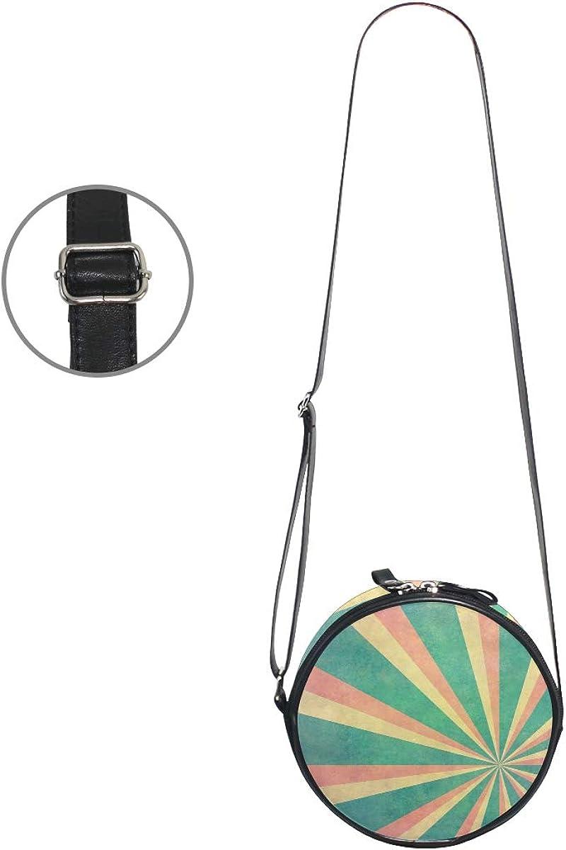 KEAKIA Vintage Sunbeams Ranibow Round Crossbody Bag Shoulder Sling Bag Handbag Purse Satchel Shoulder Bag for Kids Women