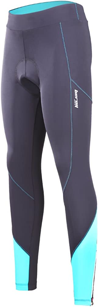 beroy Women 3D Padded Cycling Pants with Adjust Drawstring,Ladies Compression Tights Bike Pants(M Blue)