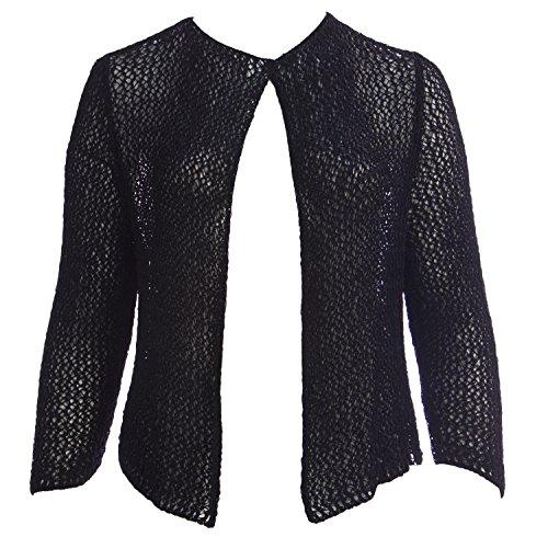- Marina Rinaldi Women's Mirto Sheer Loose Knit Cardigan Large Black