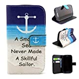 I9060 Case,I9082 Case,Galaxy Grand Neo I9060 Case,IVY [ Sea Motto ] - Synthetic Leather Flip With Support Stents Wallet Card TPU Case Cover Skin For Samsung Galaxy Grand Neo I9060 / Samsung Galaxy Grand Duos i9082
