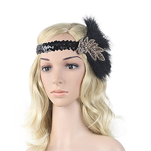 [ACTLATI Sequin and Rhinestone 1920s Indian Style Women Vintage Feather Plume Flapper Leaf Shape Headband] (Dresses From The 1920s)