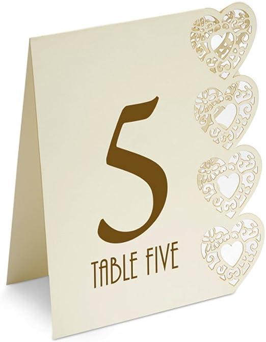 Números de mesa para boda marfil 1-15 láser diseño de corazones ...