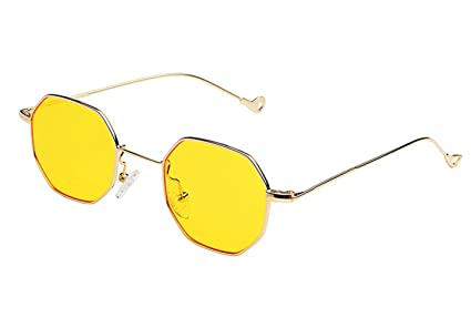 346f45979c Image Unavailable. Image not available for. Colour  Unisex Vintage Retro  Hexagon Square Sunglasses Metal Plain Glasses (Golden Frame Yellow ...