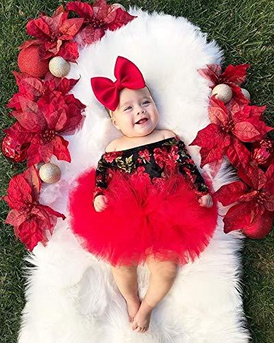 Loalirando 3 Pezzi Completo Bambina Neonata Tuta Bambina Stampa Fiore Rosso Pagliaccetto a Manica Lunga Senza Spalline… 2
