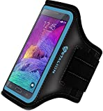 Note 4 Armband: Stalion Sports Running & Exercise Gym Sportband for Samsung Galaxy Note 4 & Note Edge (Cyan Blue) Water Resistant + Sweat Proof + Key Holder + ID / Credit Card / Money Holder