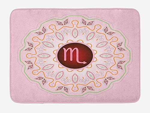 Zodiac Scorpio Bath Mat, Astrology Theme Sign on an Ornate Oriental Mandala Figure with Pink Backdrop, Plush Bathroom Decor Mat with Non Slip Backing, 23.6 W X 15.7 W Inches, Multicolor