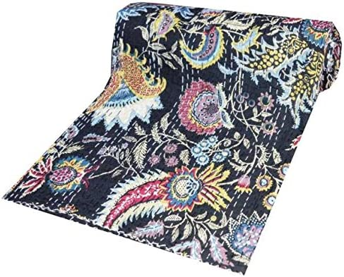 Indian Handmade Cotton Kantha Home Bed Cover Coverlets Blanket Bedspread Throw