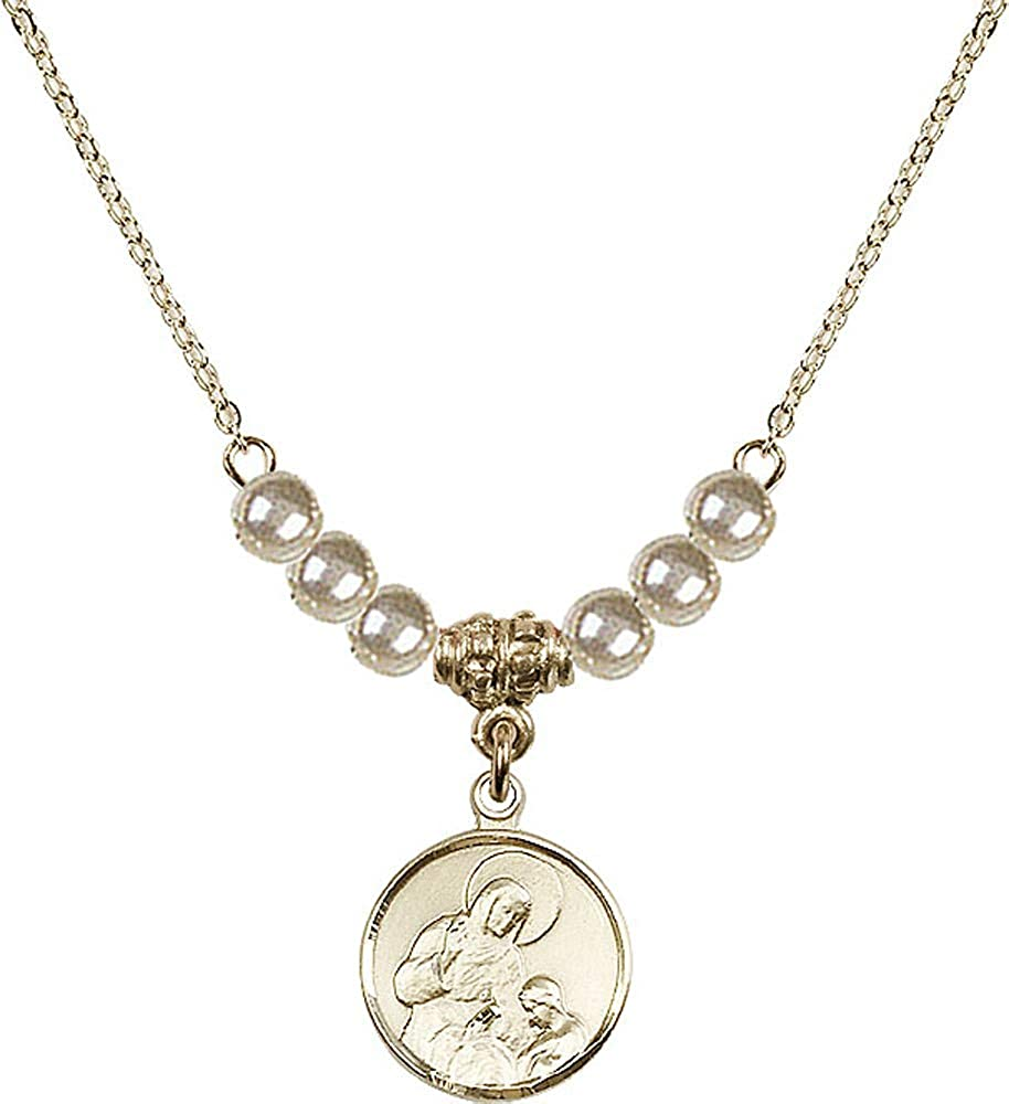 Patron Saint of Housekeepers//Mothers 18-Inch Hamilton Gold Plated Necklace with 4mm Faux-Pearl Beads and Saint Ann Charm