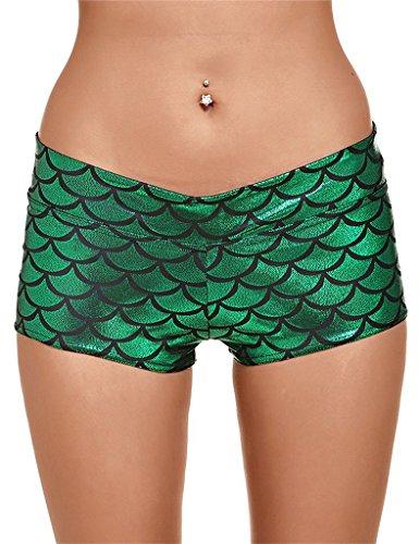 Splendor flying Women's Shiny Mermaid Fish Scale High waist Shorts (Small/0/2, Green)