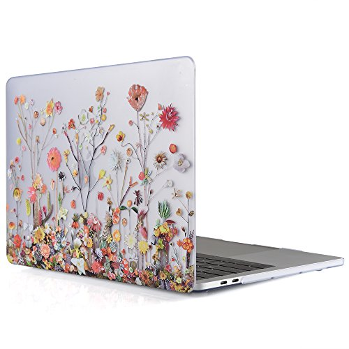 iDOO MacBook Pro 13 Case 2017 & 2016 Release A1706 / A1708, Soft Touch Plastic Hard Case Cover for Newest MacBook Pro 13 inch with/Without Touch Bar - Plants and Flowers