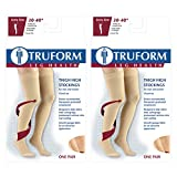 Truform Compression 30-40 mmHg Thigh High Dot Top Stockings Black, X-Large, 2 Count