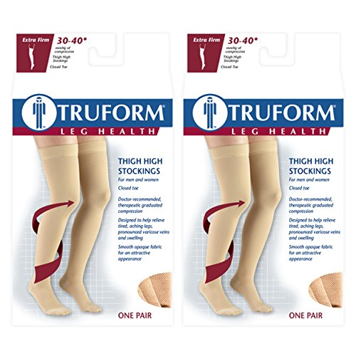 Truform 8848 Stockings, Thigh High, Closed Toe, Dot Top: 30-40 mmHg, Black, Large (Pack of 2)