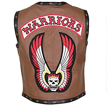 "Herts Leather The Real Warrior Style Skull Emroidered Mens Genuine Leather HQ Vest In Brown (3XL - To Fit Chest 48-50"")"