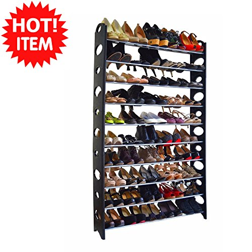 50 pair 10 tier space saving storage organizer free standing shoe tower rack plastic end and metal bars support the rack