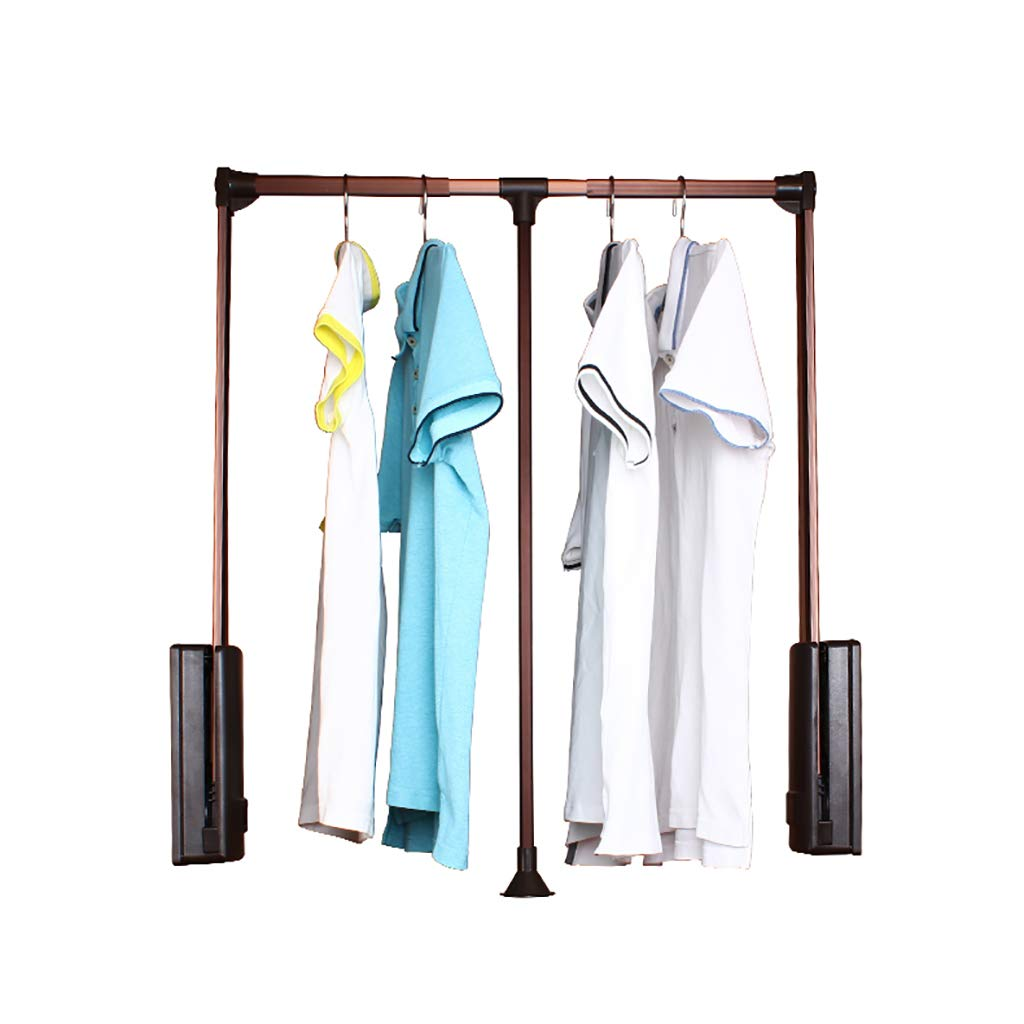 Lift Pull Down Adjustable Width Hanger, Wardrobe Clothes Hanger Rail Soft Return (Size : 510-660mm) FKhanger
