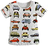 Metee Dresses Boy's Short Sleeve Cotton T-Shirts Car Print Tops Size 4 Years,4T(3-4 Years),Gray