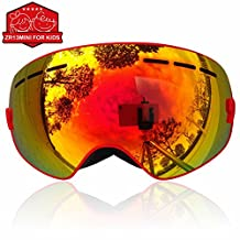 IceHacker Lagopus 13Mini Kids Snowmobile Snowboard Skate Ski Goggles with 100% UV Protection Anti-fog Detachable Wide Angle Double Panoramic Lens for Youth