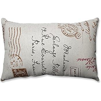 Pillow Perfect Linen/Red French Postale Rectangular Throw Pillow