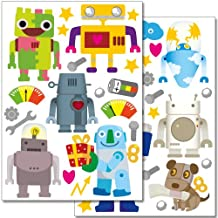 Wandkings wall stickers Robots Sticker Set – 40 stickers on 2 US letter sheets (each 8.3 x 11.7 inch)